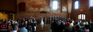 Panorama of the wedding ceremony at Old Cigar Warehouse.
