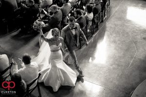 Bride and groom leaving the ceremony.