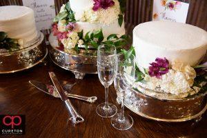 Wedding cake and glasses.