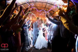 Epic glow stick wedding leave at The Old Cigar Warehouse.