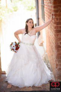 Smiling bride .