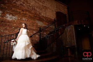 Fashion forward bridal pose.