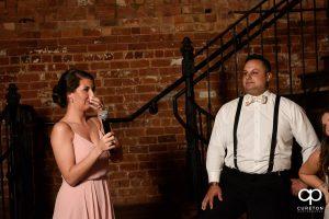 Bridesmaid giving a speech.