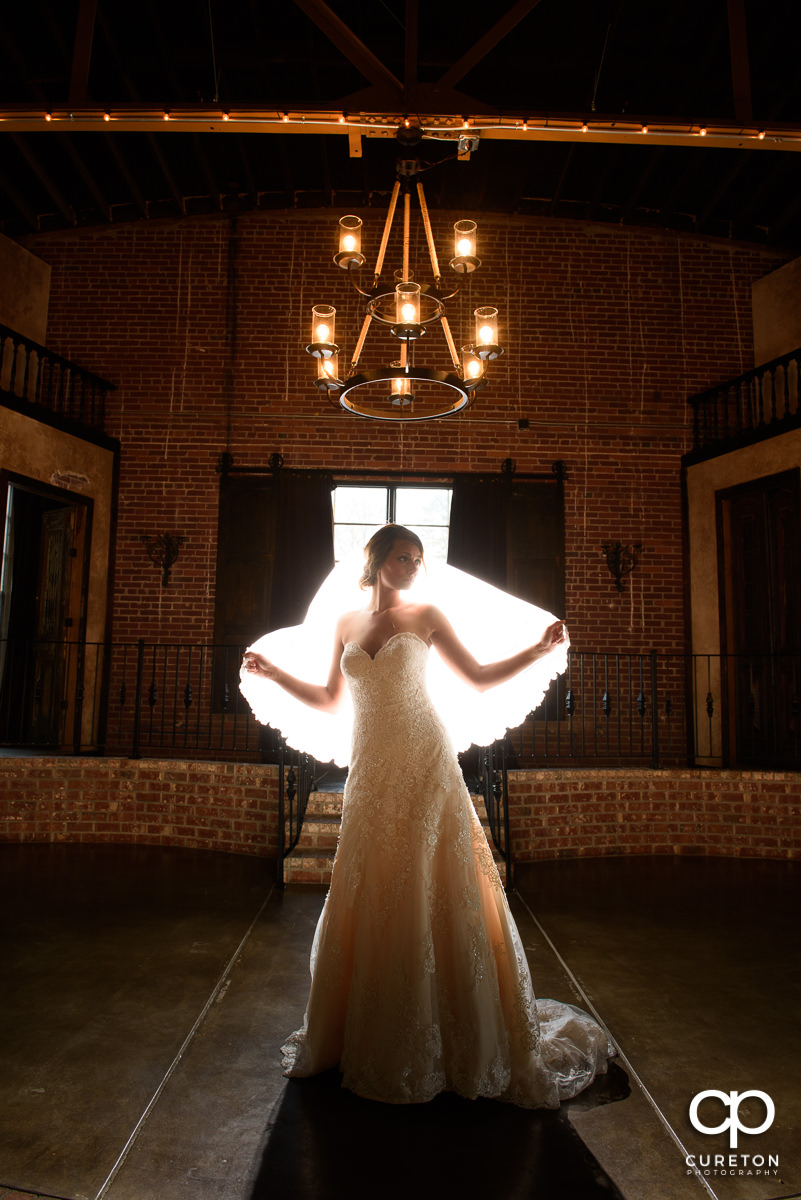 Bride holding her veil looking like an angel during her Revel Event Center bridal session in Greenville,SC.