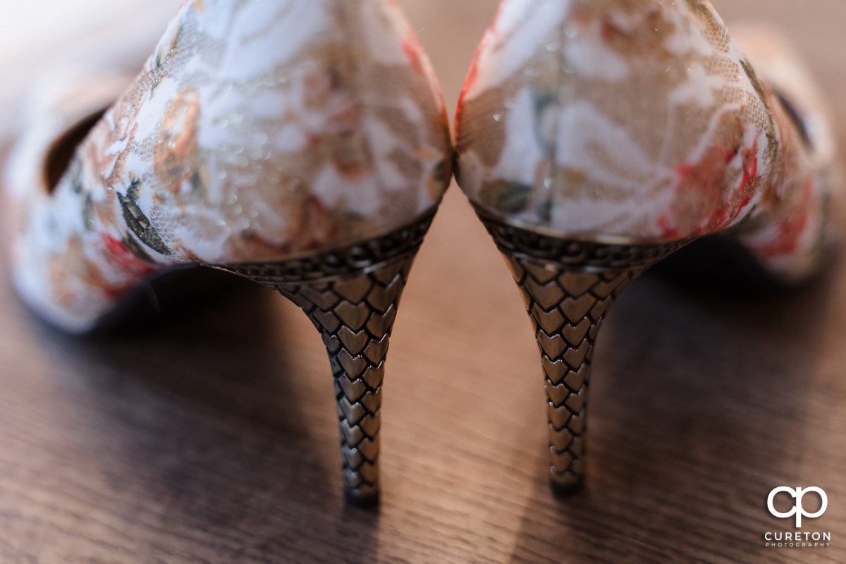 Back of the bride's shoes.