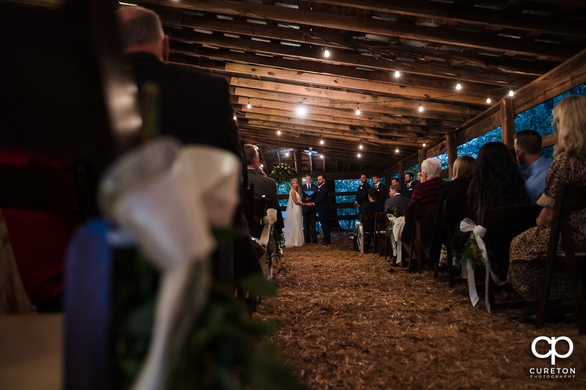 Barn wedding ceremony.