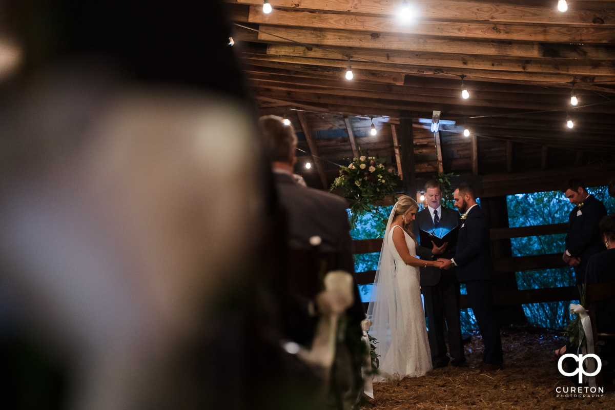 Wedding ceremony in a converted barn.