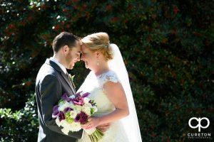 Bride and groom before their wedding at the Ryan Nicholas Inn in Mauldin, SC.