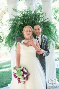 Bride and groom at the Ryan Nicholas Inn in Mauldin, SC.