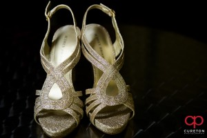 Brides shoes before her wedding.