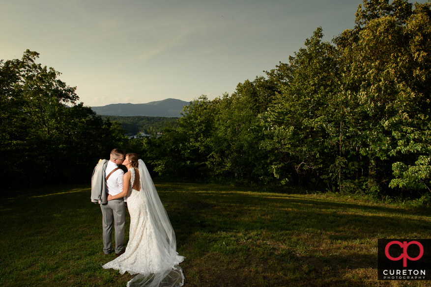 Bride and groom kissing after their Song Hill Reserve wedding.