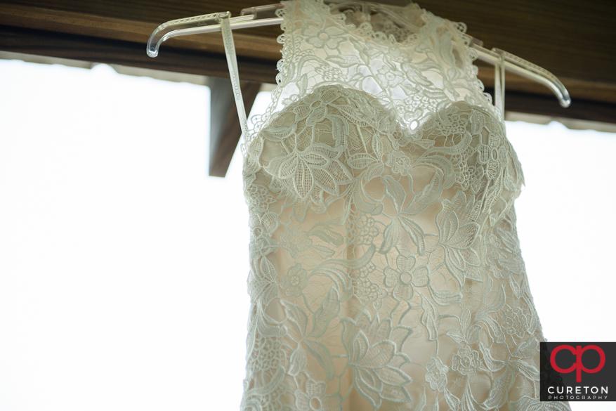 Closeup of the wedding dress.