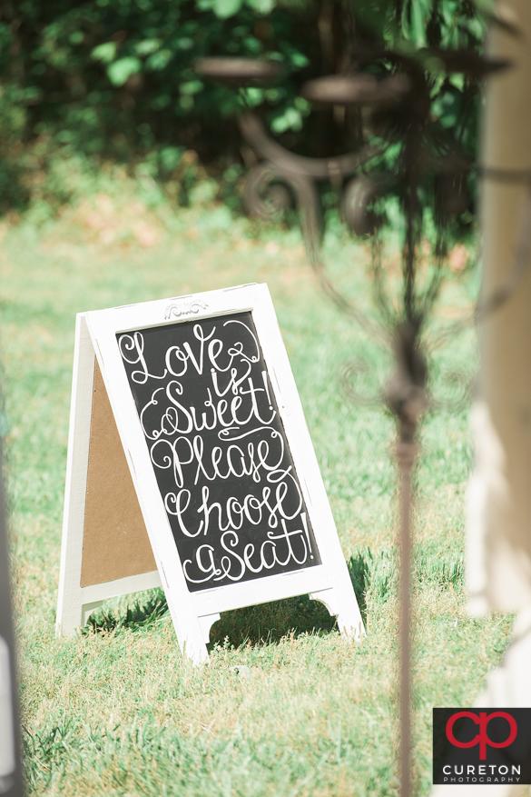 Creative wedding sign.