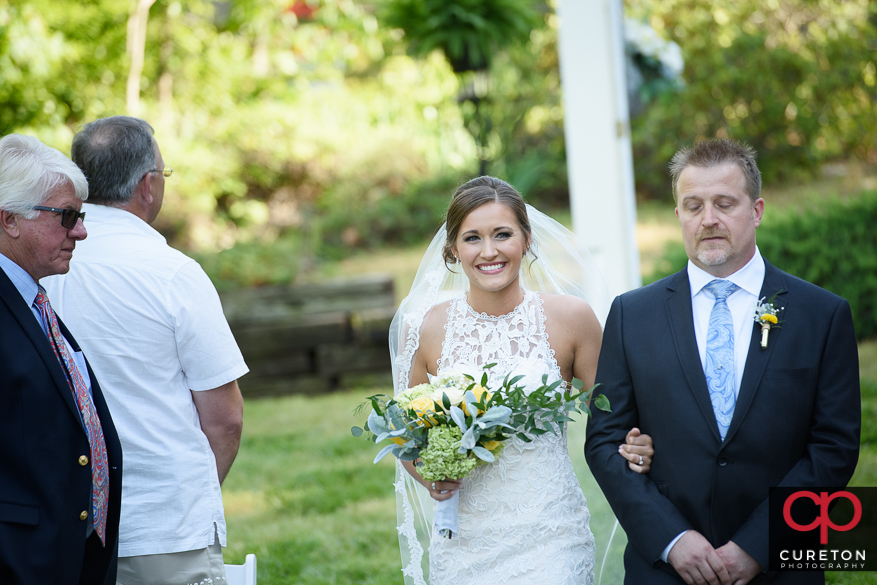 The bride makes her entrance at Song Hill Reserve.