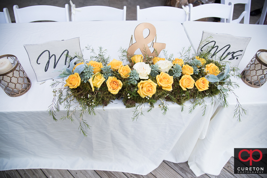 Beautiful flowers at the reception.