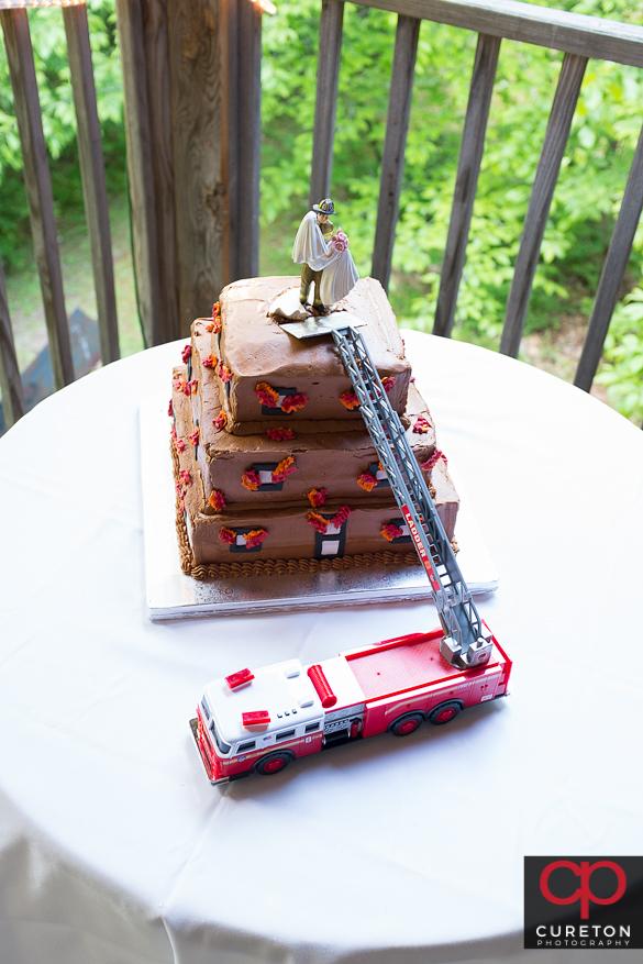 Grooms cake of a firetruck.