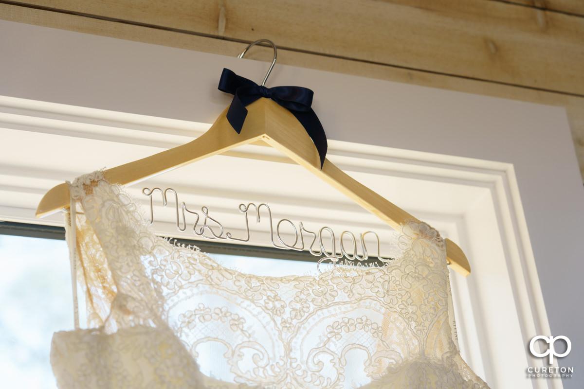 Brides custom name dress hangar.