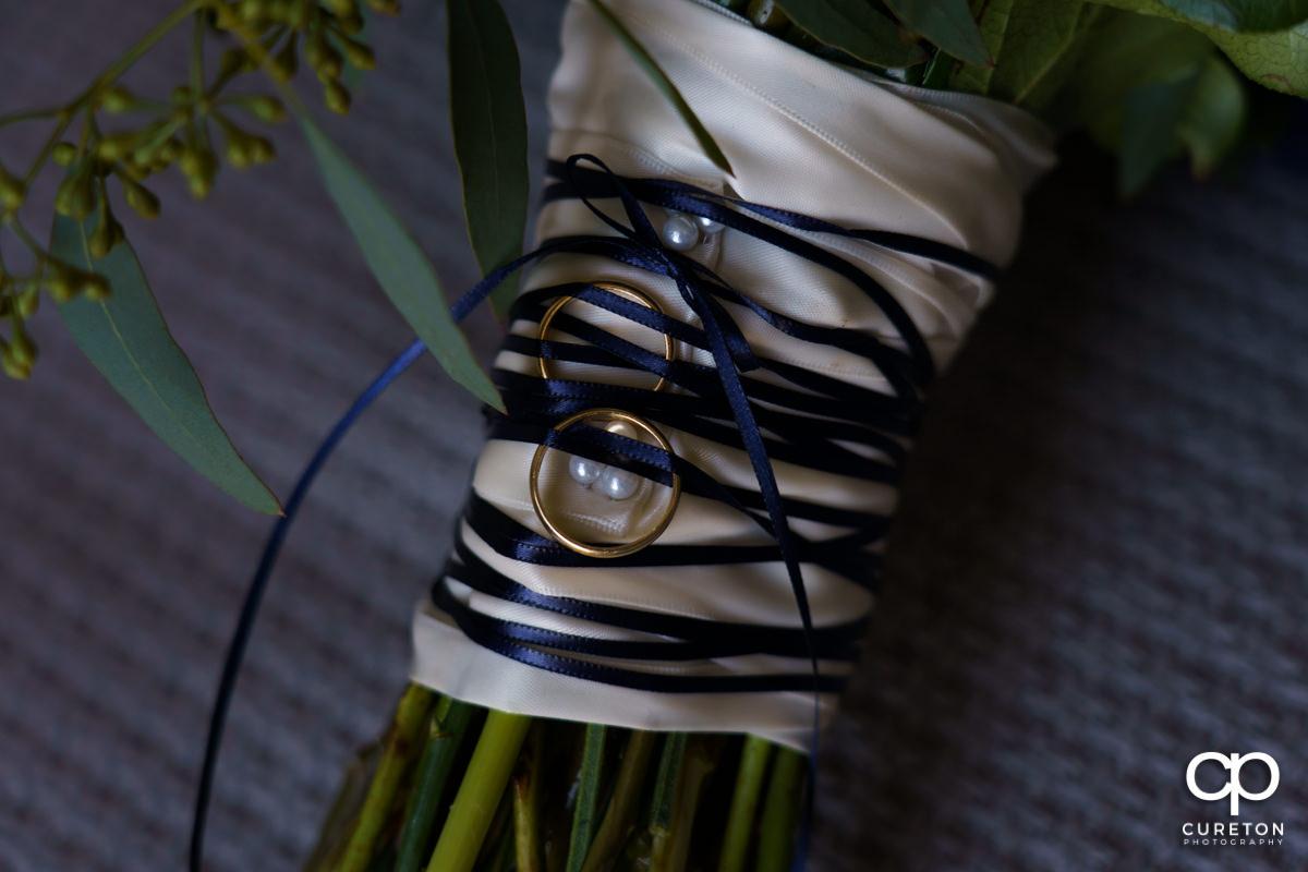 Closeup of the bride's bouquet.