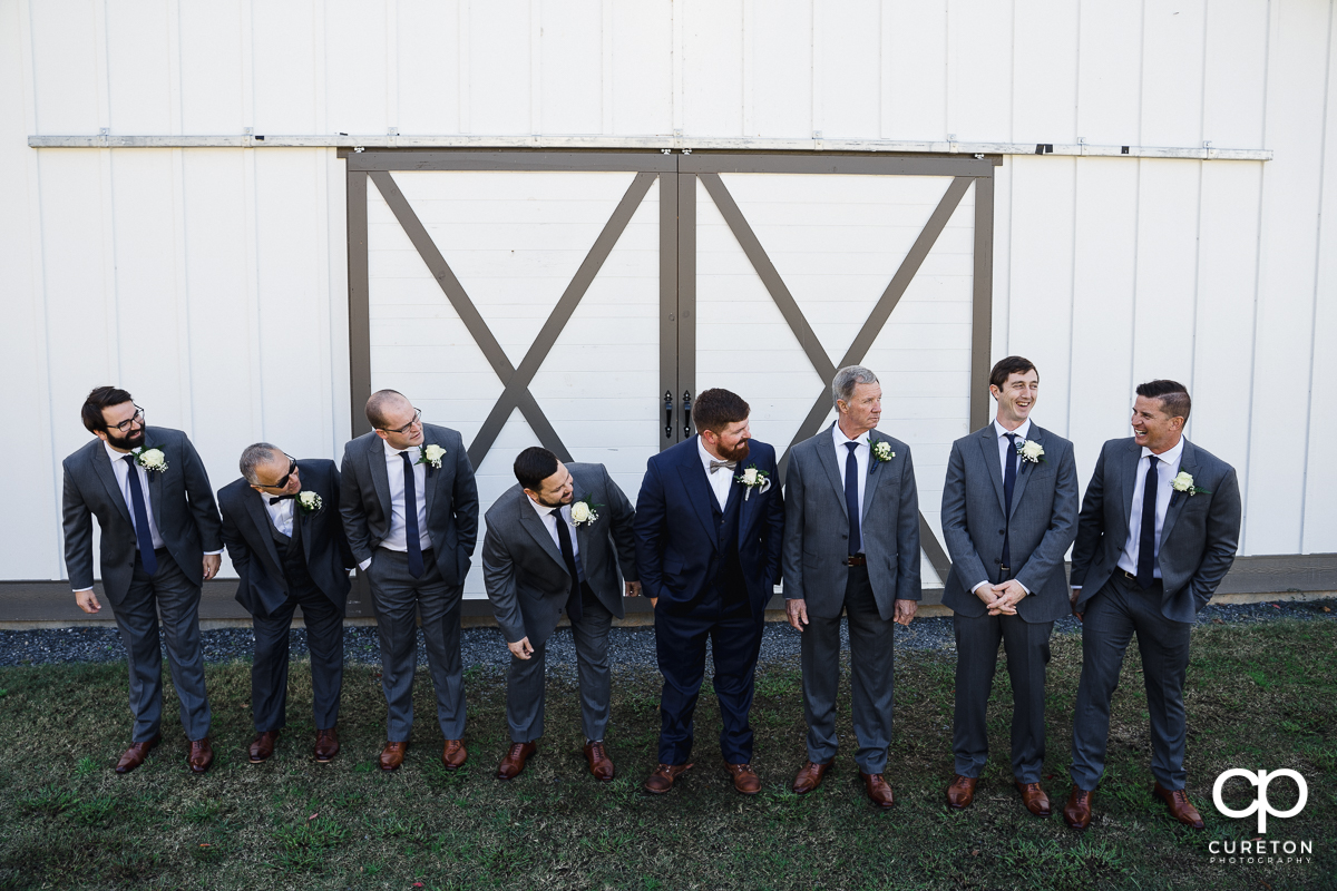Groomsmen having fun before the ceremony.