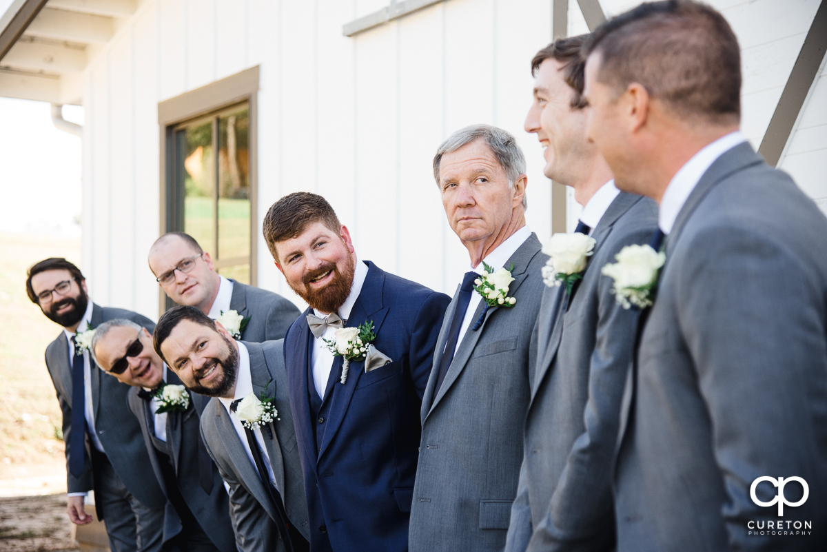 Groom and the groomsmen before the ceremony.