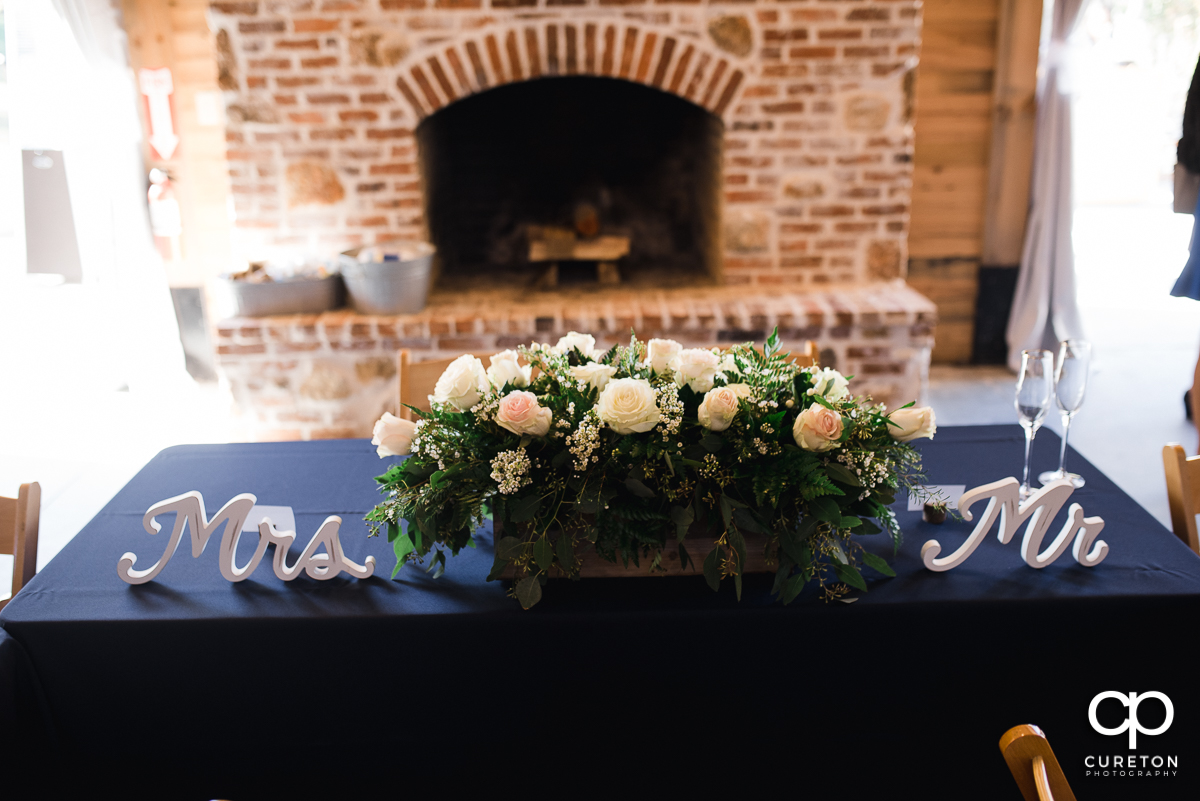 Sweetheart table at the wedding reception.