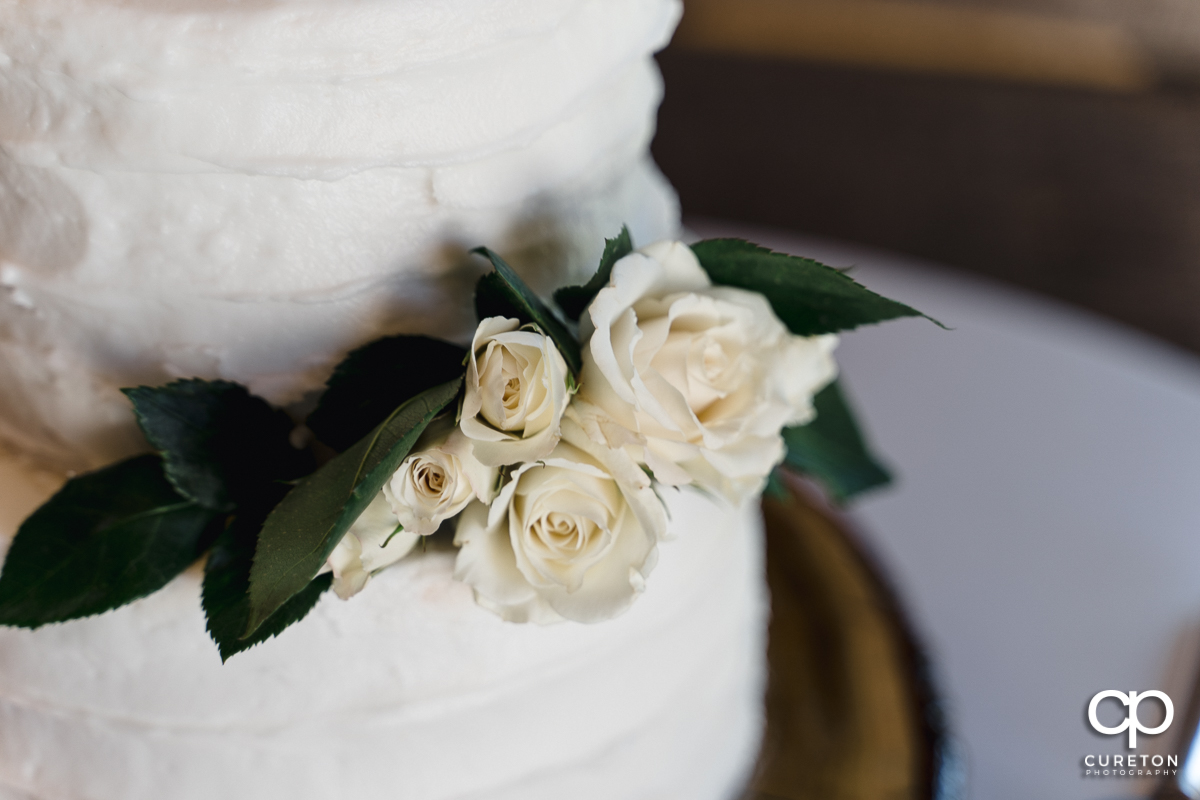 Closeup wedding cake details .