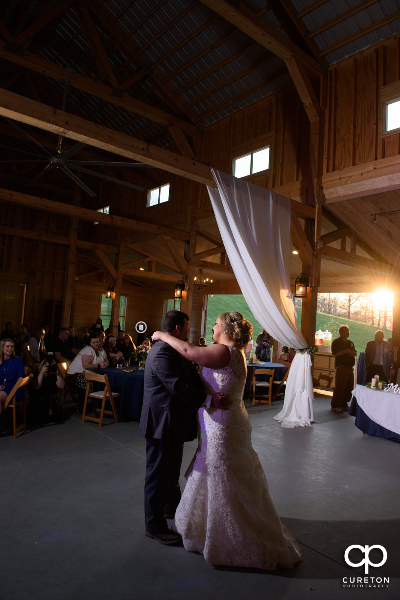 Bride and groom first dance at South Wind Ranch.