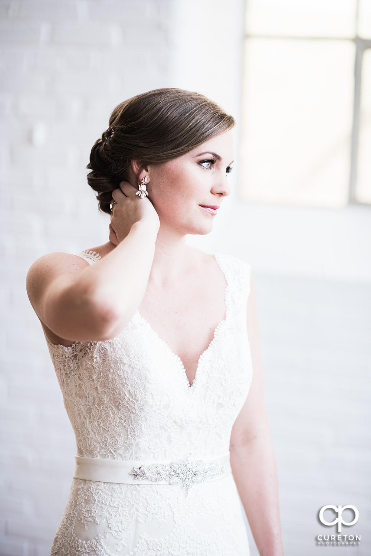 Bride in gorgeous window light.