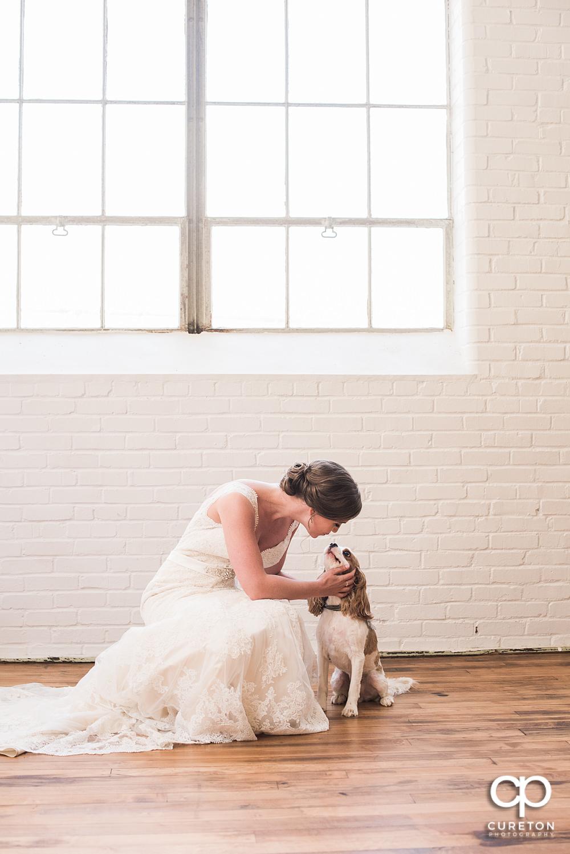 Bride kissing her dog.