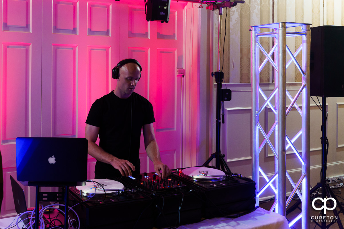 DJ Ben Bruud playing at a wedding.