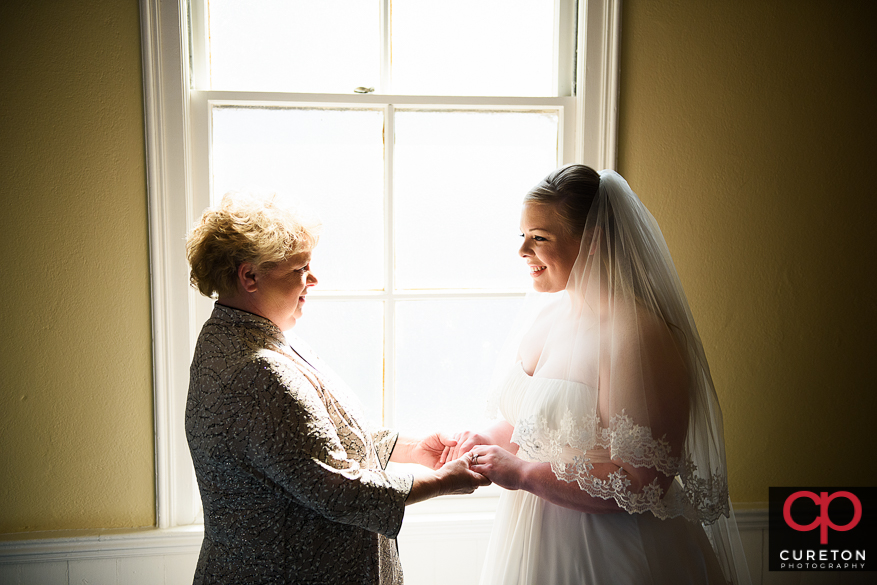 Bride and her mother before a Sumter,SC wedding.