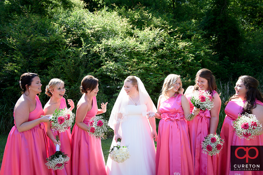 Bride and bridesmaids before the Sumter,SC wedding.