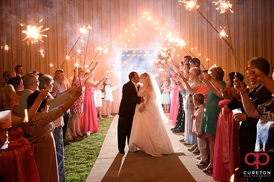 Grand sparkler exit from their Sumter,SC wedding.