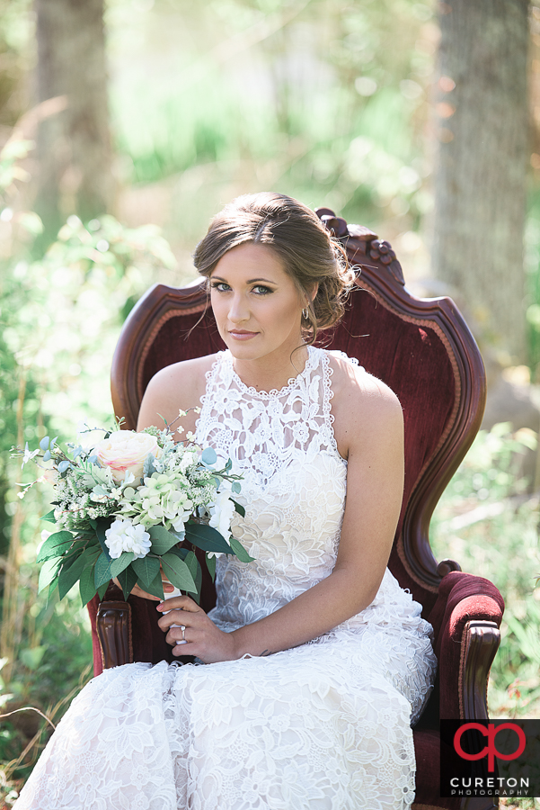 Bride in gorgeous light at Furman campus.
