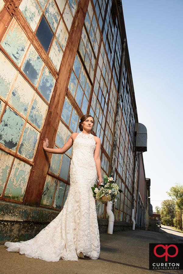 Bridal posing near the old Taylors mill.