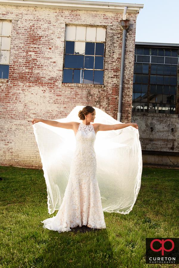 Epic long veil shot during a Taylors Mill bridal session.