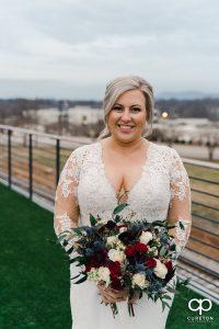 Bride holding her bouquet.