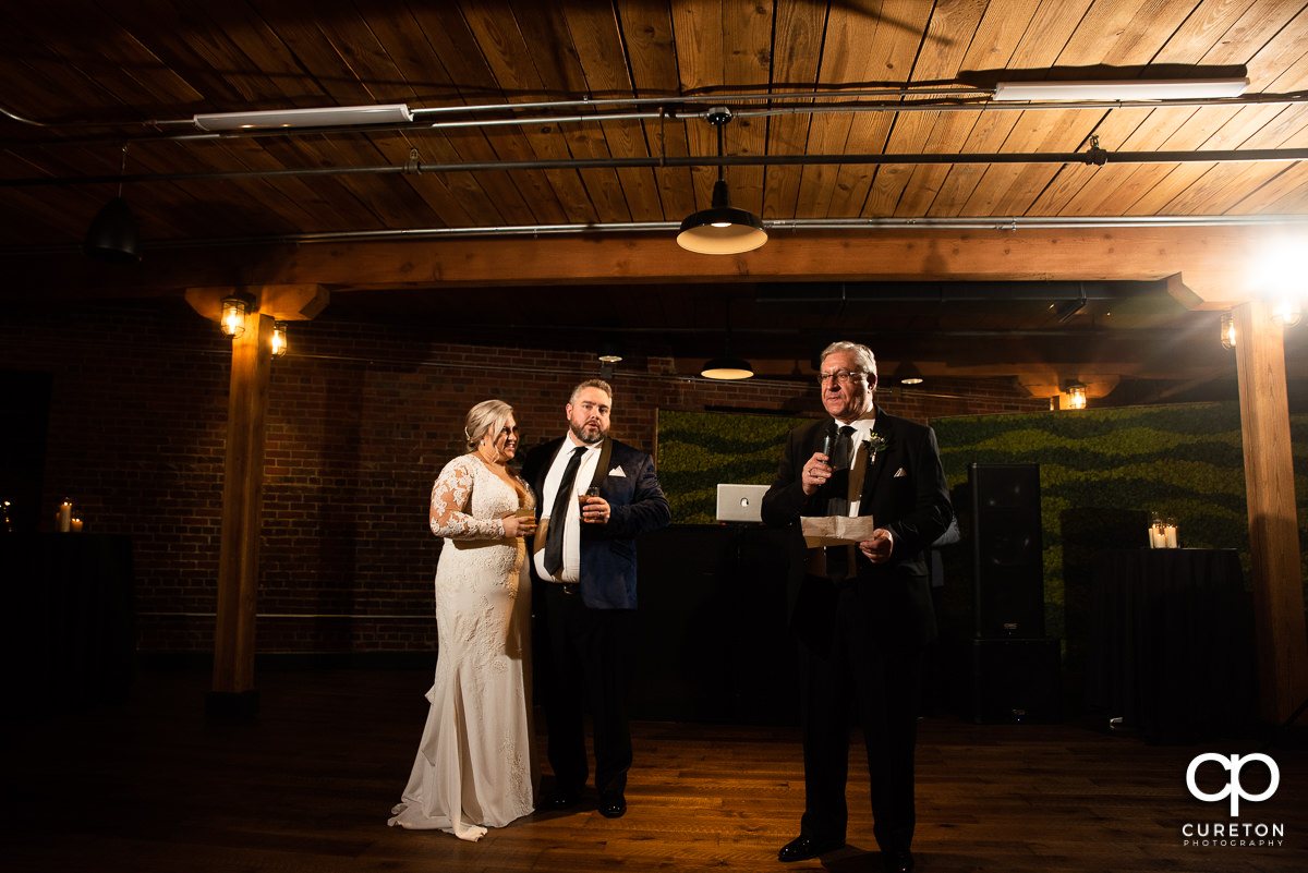 Best man giving a speech.