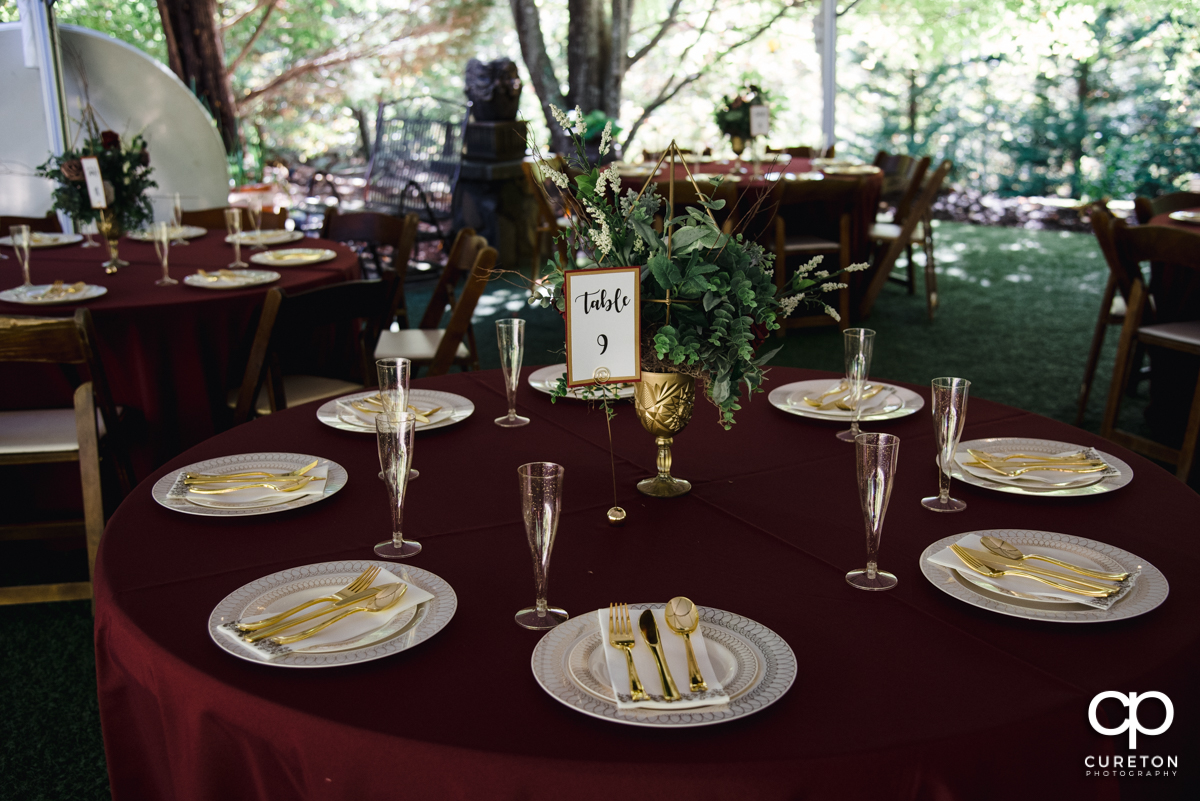 Wedding table decor and place settings at the Viewpoint at Buckhorn Creek.