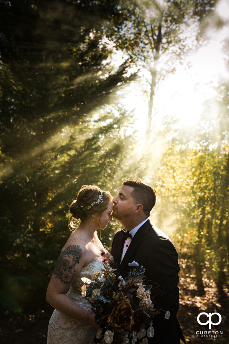 Groom kissing his bride on the forehead while standing in rays of light at the wedding.
