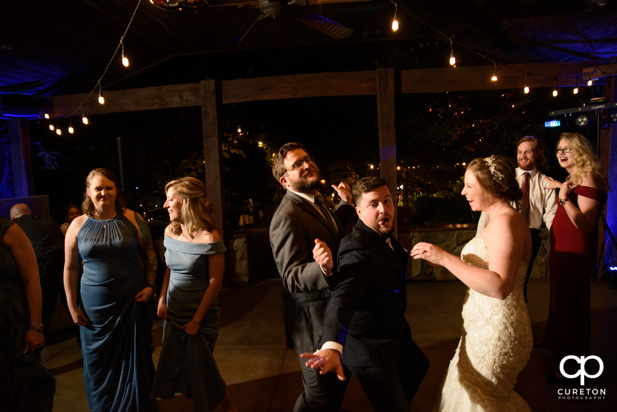 Wedding guests pack teh dance floor at The Viewpoint at Buckhorn Creek.