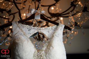 Custom hanger for the bridal dress.