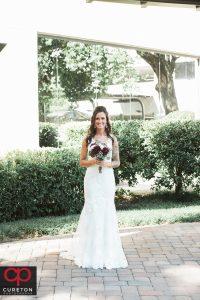 Beautiful bride before her commerce club wedding.
