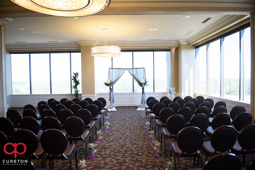 The commerce club set up for a ceremony.