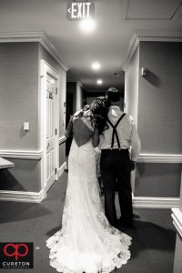 Bride and her father before they walk down the aisle.