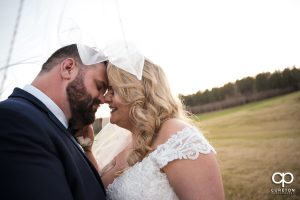 Bride and groom snuggling under a veil.