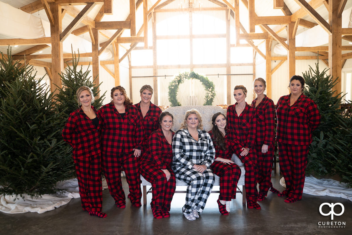 Bride and bridesmaids in pajamas.