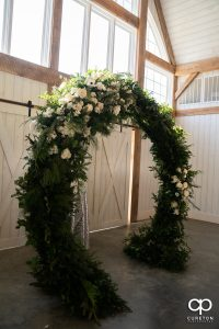 Floral arch for a wedding.