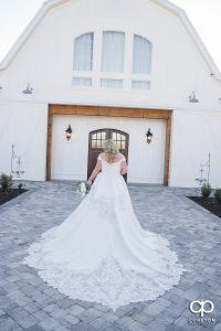 Bride walking to the chapel.