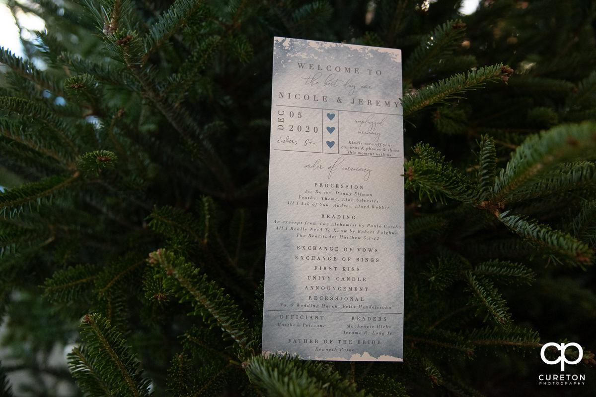 Wedding program in a Christmas tree.